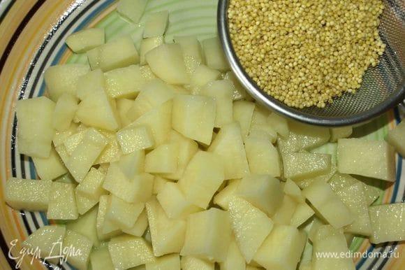 Пшено хорошо промыть несколько раз в холодной воде, обдать кипятком. Картофель очистить и нарезать кубиками. Добавить в бульон. Варить до готовности картофеля.