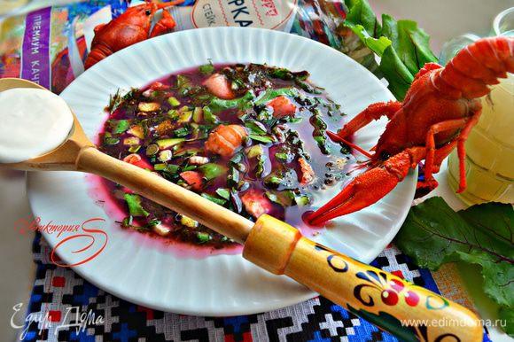 В тарелки разложите кусочки рыбы (отварной и малосольной), мясо раков и залейте квасом с добавленными овощами.
