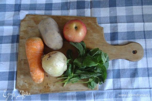 Мяту помыть и обсушить. Лук, морковь, картофель и яблоко помыть, почистить и произвольно порезать.