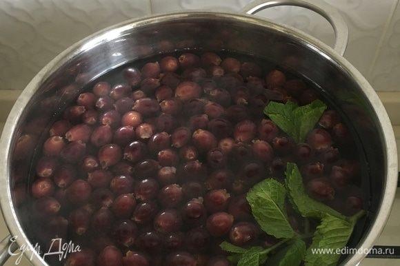 В кипящий сироп положить ягоды, немного уменьшить огонь. Варить компот достаточно 5 минут, ягоды должны всплыть. Можно добавить палочку корицы, пару бутонов гвоздики или свежей мяты. Компот охладить и напиток готов.