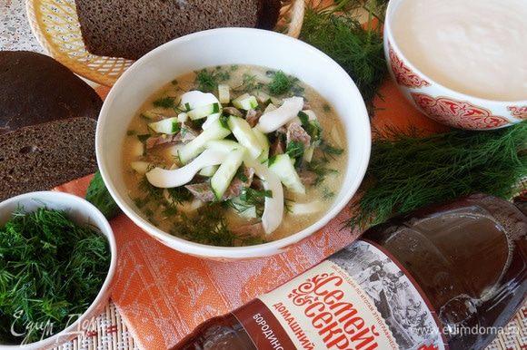 Окрошка по-татарски готова. Приятного аппетита!