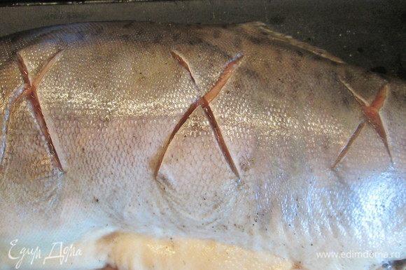 На одной стороне семги делаем крестообразные надрезы. Во внутрь рыбы кладем оставшуюся часть цедры, перец, соль, поливаем лимонным соком (внутри и снаружи). Перец также можно всыпать в надрезы.