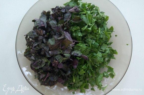 Фиолетовый базилик (на юге его называют реган) и петрушку мелко порубить.