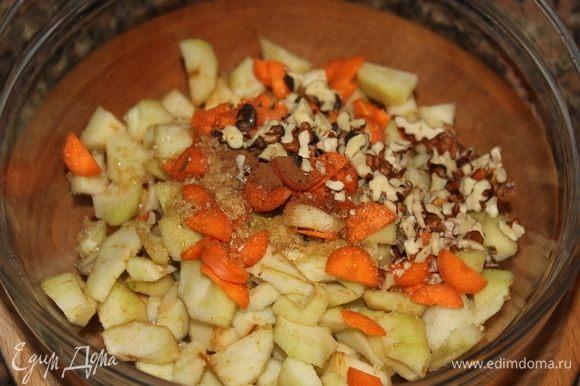 В миску нарезать: 1. Очищенные от кожуры груши — мелкими кубиками. 2. Морковь — тонкими полуокружностями. Всыпать: 1. Коричневый сахар. 2. Корицу молотую. 3. Ореховую смесь (можно взять любые орехи по вкусу). По желанию, можно добавить жидкий мед (я добавила мед с орешками) — 1 ч. л. Все тщательно перемешать.