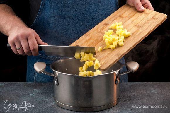 Налейте в кастрюлю воду и доведите до кипения. Добавьте в кастрюлю пассированные овощи и картофель, посолите и поперчите по вкусу.