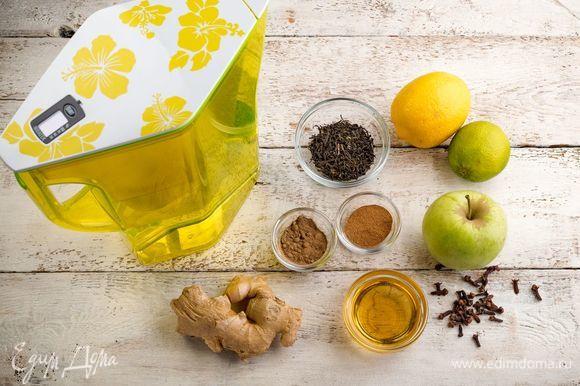 Для приготовления ароматного имбирного чая нам понадобятся следующие ингредиенты.