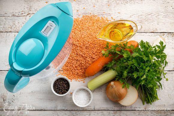 Для приготовления согревающего чечевичного супа нам понадобятся следующие ингредиенты.