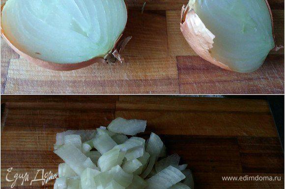 В это время подготовить соус. Нарезать половину луковицы кубиками.