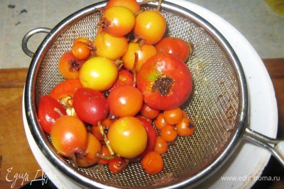 Прежде чем варить сироп, сделал ягодный отвар. В кипящую воду, полтора стакана, бросил по полжменьки ягод шиповника и боярышника и гроздь рябины. Аромата от них не будет, зато они придадут варенью еле заметный горьковато-терпкий привкус. Через пять минут кипения откинул ягоды в ситечко, а отвар вылил в кастрюлю и поставил закипать.