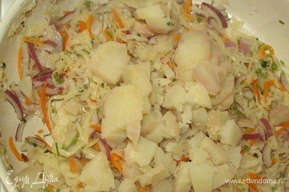 Картофель (заранее отварить) очищаем от кожуры и режем кубиками. Добавляем в капусту и готовим 2 минуты.