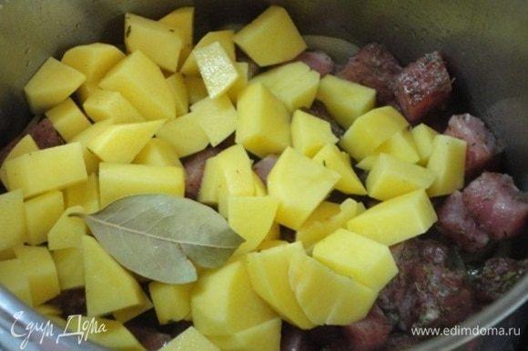 Добавить мясо, сельдерей, картофель, лавровый лист и залить бульоном или горячей водой. Перемешать, накрыть крышкой и варить на медленном огне около часа. Какой аромат витал на кухне!