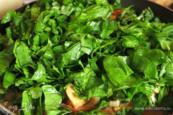 Нарезаем шпинат и кинзу, кладем в карри и тушим под крышкой несколько минут.