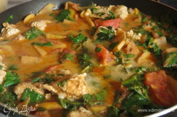 При желании, солим, протушиваем. Блюдо получается острым, сочным, с большим количеством соуса. Приятного аппетита!