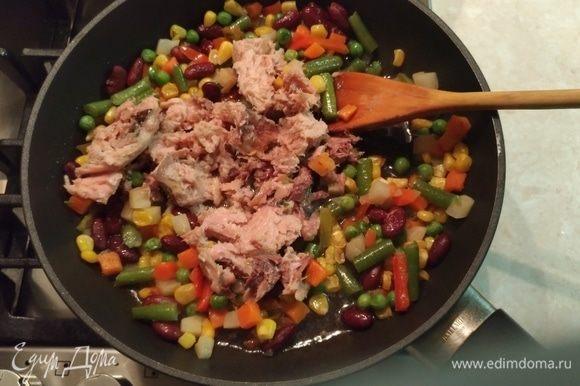 Размять вилкой и добавить к овощам. Перемешать. По времени много не занимает, т.к. тунец должен смешаться с овощами и прогреться.