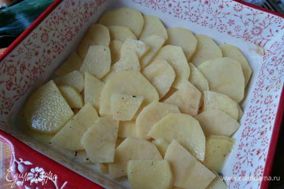 Возьмем форму, в которой будем запекать. У меня размер формы 20х20 см. 1 слой — картофель, примерно 1/3 от общего количества.