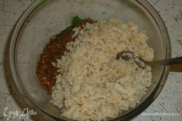 Добавить рис и чечевицу.