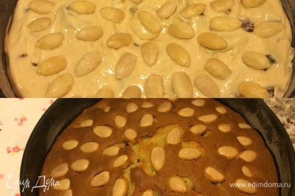 Украсить миндалем и выпекать 60–70 минут (до сухой спички), если верх пирога начнет подгорать, опустите противень на нижний уровень духовки.