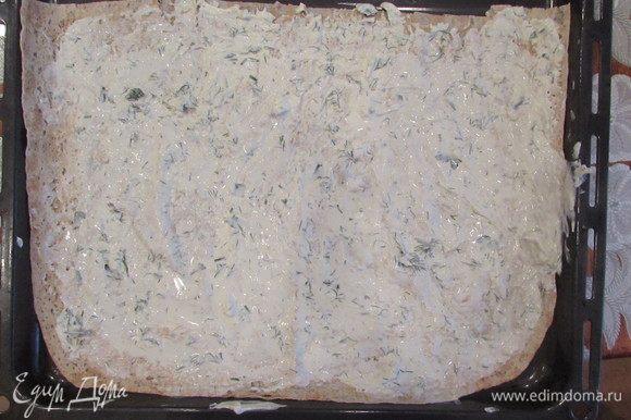 Нанести на лаваш слой сырной массы с зеленью не более 0,5 см.