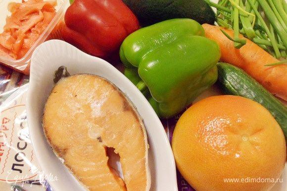 Основные ингредиенты для новогоднего салата «Ю-Шен».