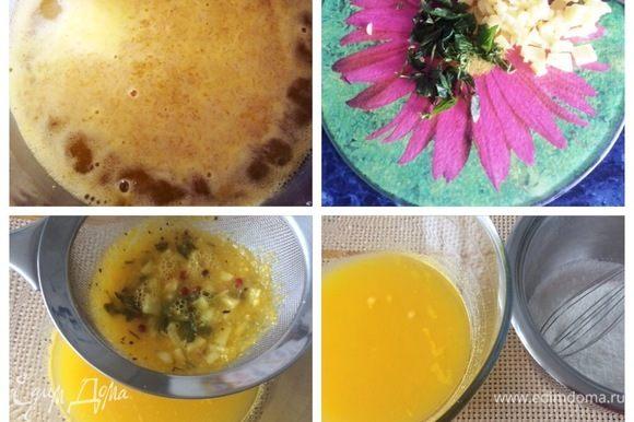 Помещаем апельсиновый и мандариновый соки в сотейник и доводим до кипения. Добавляем к соку все пряности и порезанный имбирь и мяту. Настаиваем эту смесь 15 минут. Процеживаем ее через сито. Крахмал смешиваем с сахаром и добавляем к соку, венчиком тщательно перемешиваем смесь и доводим до кипения, варим 1-2 минуты. Желатин замочить, распустить на водяной бане (не кипятить). Добавить к смеси, тщательно перемешать.