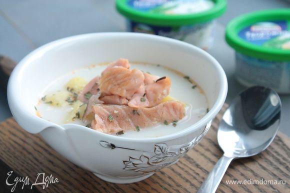 После чего подавайте суп на стол, предварительно посыпав укропом или любой другой зеленью по вкусу. Приятного аппетита!