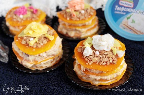 Фруктово-тыквенные пирожные готовы! Пирожные получаются совершенно не приторными, с тонкой кислинкой апельсина, с нежным сливочным вкусом и пряным ароматом.