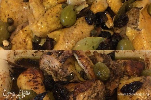 Вот и пришло время жарить нашу курочку. Духовку нагреть до 175–180°С. Кусочки курицы переложить в форму для запекания, полить маринадом, посыпать сахаром и отправить в духовку на 1–1,30 часа.