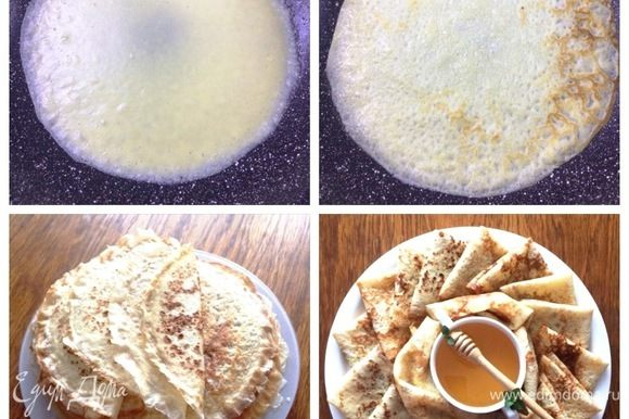 Утром достала тесто, тщательно перемешать. Смазать сковородку растительным маслом и хорошо ее накалить. Выпекаем блины с двух сторон.