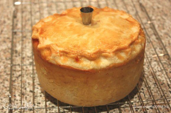 Желатин листовой замочить на 5 минут в холодной воде. Бульон разогреть в маленькой кастрюле. Желатин хорошо отжать и растворить в бульоне, затем перелить всё в молочник с удобным носиком). Вставить маленькую воронку в отверстие на пироге (можно использовать металлическую кондитерскую насадку для крема). Через воронку дробно вливать бульон до заполнения пирога. Если жидкость не уходит в пирог, можно длинной деревянной шпажкой аккуратно чуть расширить пространство между крышкой и начинкой. Оставить 3–4 ст. л. бульона для топпинга. Убрать пирог на холод не менее, чем на 2 часа.