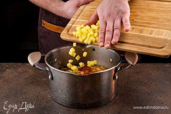 Добавьте нарезанный кубиками картофель, посолите и варите на медленном огне до готовности картофеля.