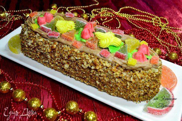 Такой тортик порадует всех!) Для украшения: цукаты (мармелад). Коньяк по желанию добавлять, лучше да.