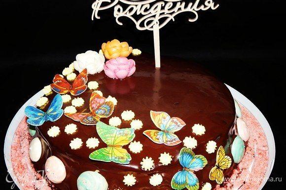 Вот такой весенний и вкусный тортик у меня получился. Приятного вам чаепития!