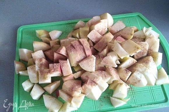 Яблоки вымыть, нарезать кубиками (сердцевинку вынуть), посыпать молотой корицей и имбирем. Я брала 2 довольно крупных яблока, если у вас мелкие, берите 3 штуки.