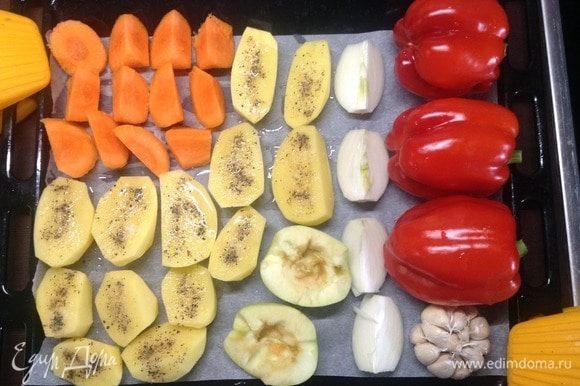 Вот этот 4 «творческий заход», я бы назвал «Строгая классика»:) Тут морковь видна, лук репка, нарезанный на 4 части, яблочко... К слову, морковь печеная — удивительно полезный и вкусный овощ. Выше ее — только ее высочество тыква:)