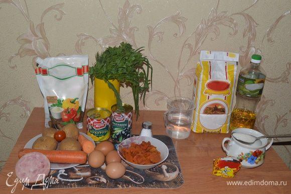 Подготовим все необходимые ингредиенты. Слева — для салата, справа — для ароматной выпечки.