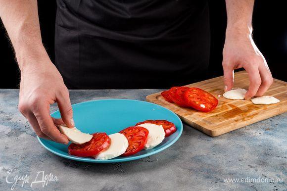 Выложите помидоры и моцареллу, чередуя, немного внахлест.
