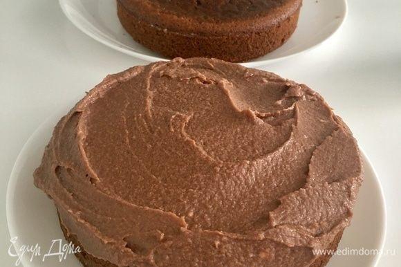 Собираем торт. Положить первый полностью остывший корж на блюдо, пропитать его кофейным соусом. Распределить поверх коржа 1/3 крема.