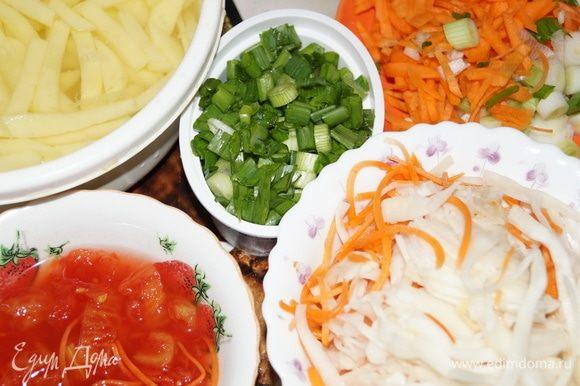 Для начала нужно сварить в мультиварке мясо курицы, обобрать его от костей, нарезать на кусочки, бульон процедить через ситечко. Затем нарезаем овощи соломкой и начинаем закладывать их в чашу мультиварки.