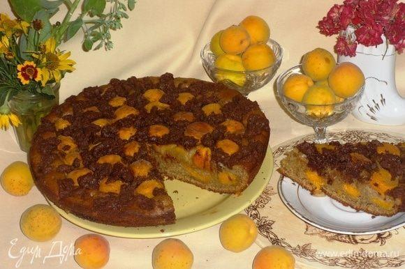 Наш ароматный вкусный пирог готов! Аккуратно переложить его на плоское блюдо. Разрезать на порции и подать к любимому напитку. Всем приятного аппетита! Угощайтесь!