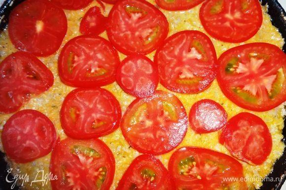 Помидоры вымыть, обсушить, нарезать тонкими кольцами. Уложить кольца помидоров на запеканку. Поставить запеканку в духовку, разогретую до 180°C, и выпекать в течение 35–40 мин.