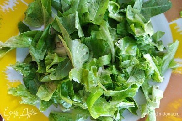 Листовой салат вымыть, высушить, порвать руками на тарелку.