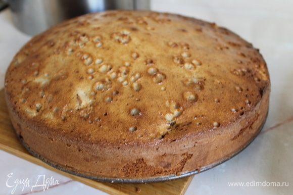 Готовность бисквита проверьте деревянной шпажкой — проколите ею корж, если она выйдет сухой, бисквит готов.