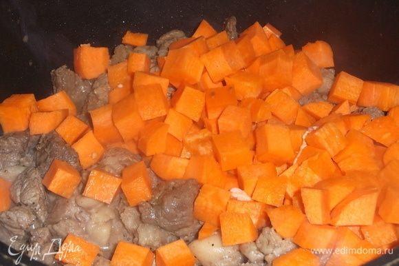 Добавить нарезанную морковь, так же под крышкой тушить 10 минут.