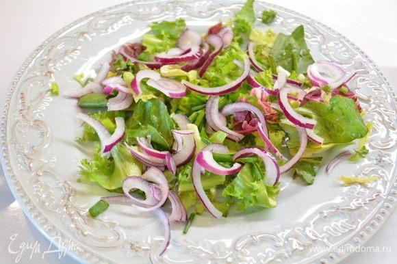 На блюдо выкладываем салатный микс и нарезанный полукольцами лук.