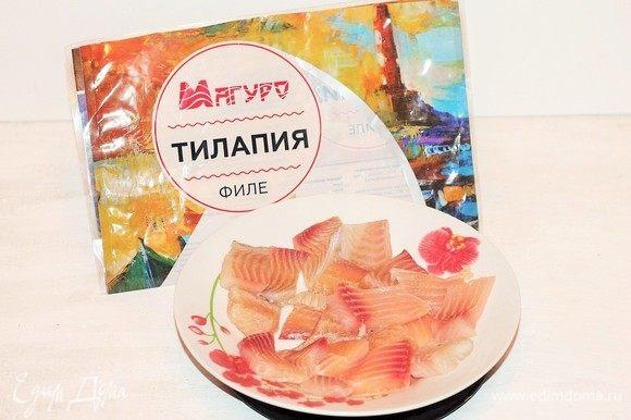Филе тилапии ТМ «Магуро» нарезать порционно и удалить косточки, если они есть.