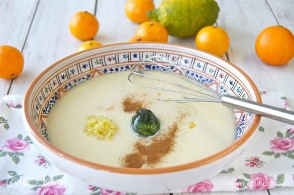 Добавила сок и цедру двух мандаринов, лимонную цедру, тертый имбирь, корицу и мятное желе (сироп).