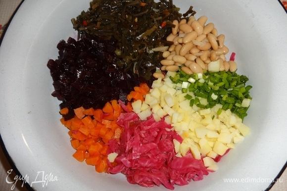 Отложить для украшения немного фасоли и зеленого лука. Все продукты для винегрета выложить в большую миску.