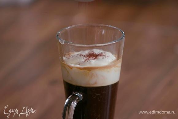 Посыпать сверху какао.