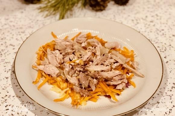 Морковь, лук, курицу положить на тарелку.