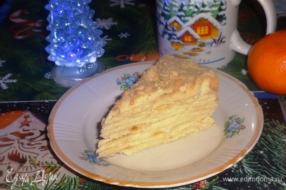 Разрезать торт на порции и подать к чаю или кофе. Угощайтесь! Приятного чаепития! Всех с наступившим Новым 2019 годом!